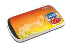 Smart phone electronic credit / debit card payment. Smart phone electronic digital credit and debit card on screen illustrating payment is happening. Clear area Stock Images