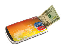 Smart phone electronic credit and debit card payment Royalty Free Stock Photography