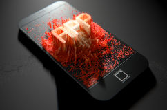Smart Phone Emanating App Royalty Free Stock Image