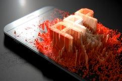 Smart Phone Emanating App stock illustration