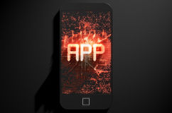 Smart Phone Emanating App Royalty Free Stock Photography