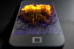 Smart Phone Emanating Augmented Reality Royalty Free Stock Image
