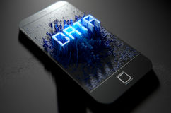 Smart Phone Emanating Data Stock Images