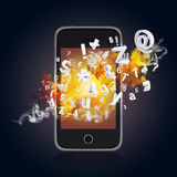 Smart phone emits letters, numbers and smoke Stock Photography