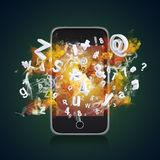 Smart phone emits letters, numbers and smoke Stock Images