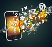 Smart phone emits letters, numbers and smoke Royalty Free Stock Images