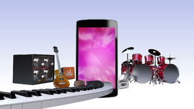 Smart phone, entertainment contents for music concept stock footage