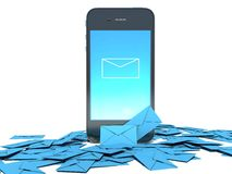 Smart phone and envelope - sms and mail concept Royalty Free Stock Photography