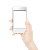 Smart phone in female hand. Stock Images