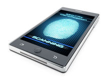 Smart phone fingerprint authentication. Concept Royalty Free Stock Photo
