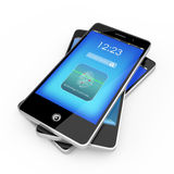 Smart Phone With Fingerprint Scanner. With reflections Royalty Free Stock Photography