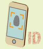 Smart Phone Fingerprint Security. Vector detailed smartphone mock up with security fingerprint on screen. Illustrator eps 10 Stock Images
