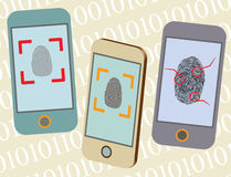 Smart Phone Fingerprint Security. Vector detailed smartphone mock up with security fingerprint on screen. Illustrator eps 10 Stock Image