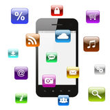 Smart phone with flying icons Royalty Free Stock Images