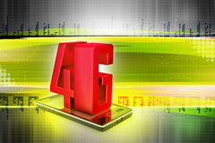 Smart phone with 4G. In color background Stock Photography