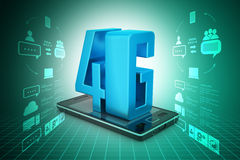 Smart phone with 4G. In color background Royalty Free Stock Photography
