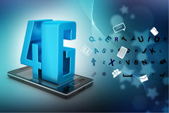 Smart phone with 4G. In color background Stock Images