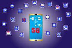 Smart phone with 5g high speed wifi in the future royalty free illustration