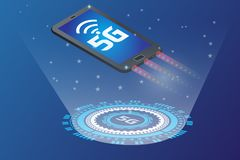 Smart phone with 5g icon high speed wifi in the future vector illustration
