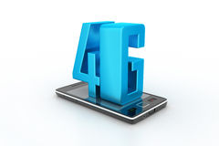 Smart phone with 4G. In white color background Royalty Free Stock Photo