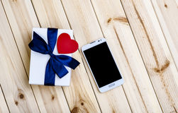 Smart Phone, Gift Box And Heart. Stock Photography