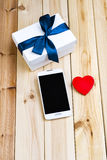 Smart Phone, Gift Box And Heart. Stock Photos