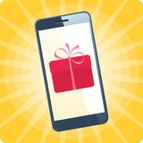 The smart phone with gift box on the screen. Flat vector illustration of smartphone on the holiday colorful background. The online store, e-shopping, gifts Royalty Free Stock Images