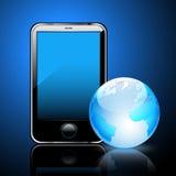 Smart phone and globe Royalty Free Stock Image
