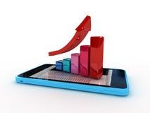 Smart phone with graph. 3d smart phone with graph Royalty Free Stock Photos