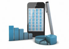 Smart phone and graphics Royalty Free Stock Image