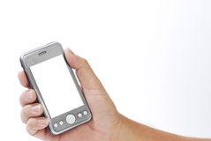 Smart phone on hand Royalty Free Stock Images