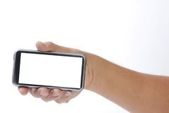 Smart phone on hand Stock Images