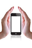 Smart phone and hand Royalty Free Stock Photos