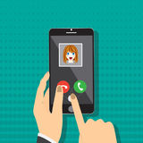 Smart phone on hand with incoming call from girl, vector illustration Royalty Free Stock Images