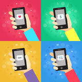 Smart phone in hand with message (love, money, hello!, envelope) vector illustrations set. Business backgrounds Royalty Free Stock Photo