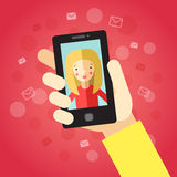 Smart phone in hand. On the red background with envelopes. Video call with girl (blonde long hair). Stock Images