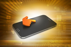 Smart phone with hand sign Royalty Free Stock Images