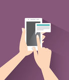 Smart phone in the hands. Messaging. Eps 10 flat design concept Stock Photos