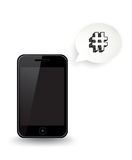 Smart Phone Hashtag. A smart phone with a speech bubble showing a hashtag Stock Photos