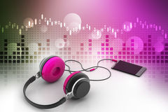 Smart phone with head phone Royalty Free Stock Images