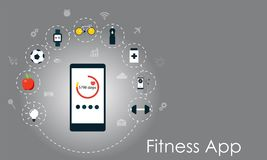 Smart phone with healthy lifesyle icons. Fitness app vector illustration. Smart phone with healthy lifesyle icons. Fitness app flat vector illustration Stock Image