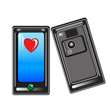 Smart phone with a heart Stock Photo