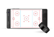 Smart phone hockey. On a white background Stock Photography