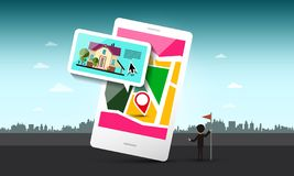 Smart Phone with House and Pin on Map. Vector Urban Landscape vector illustration