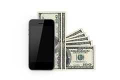 Smart Phone and Hundred Banknotes Stock Photos