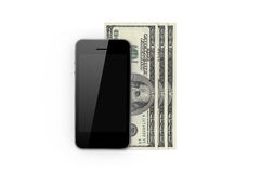 Smart Phone and Hundred Banknotes Stock Photography