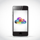 Smart phone and icon color cloud illustration Stock Photo