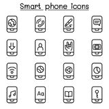 Smart phone icon set in thin line style. Vector illustration graphic design Stock Photo