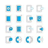 Smart phone icons. Set of 16 contact and smart phone icons Stock Photos