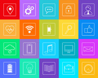Smart Phone Icons Set Thin Line Simple Colorful Royalty Free Stock Images
